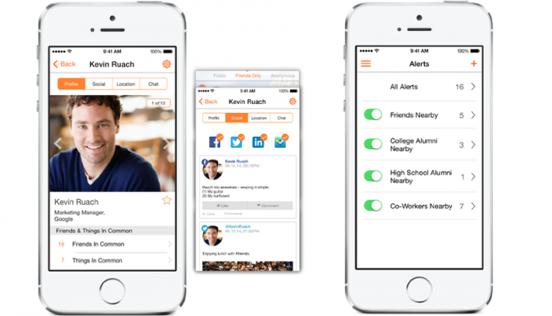 SocialRadar app con información de la gente que te rodea